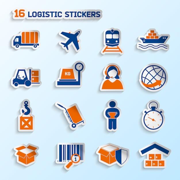 Transporte de pacote logístico global entrega urgente adesivos elementos conjunto ilustração vetorial Vetor Premium