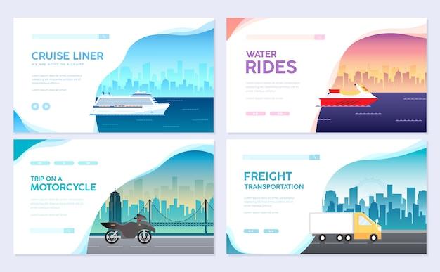 Transporte de variações de infográfico de guia turístico de viagens férias. cruzeiro, deitado no avião, viagem de carro. Vetor Premium