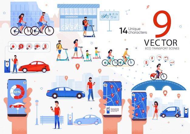 Transporte ecológico para conjunto de cenas de pessoas da cidade Vetor Premium