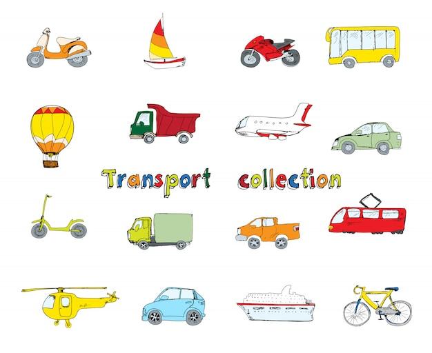 Transporte, ícones, jogo, colorido Vetor grátis