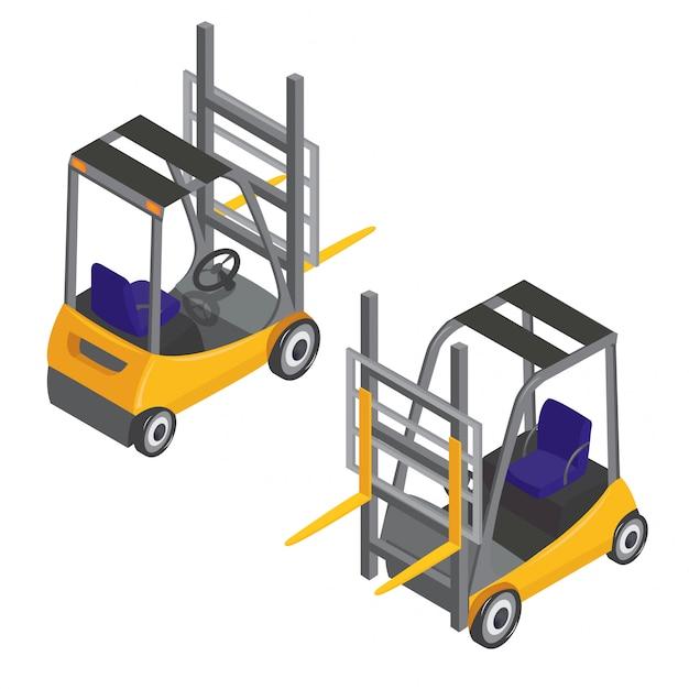 Transporte isométrico de transporte de empilhadeira Vetor Premium