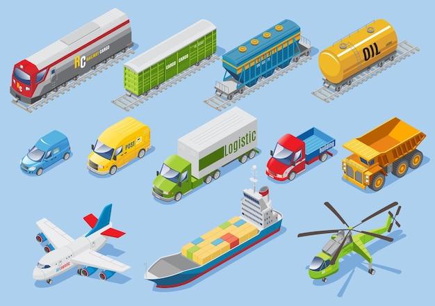 Transporte logístico isométrico definido com carro van caminhões avião navio helicóptero trem de carga vagões tanque de óleo isolado Vetor Premium