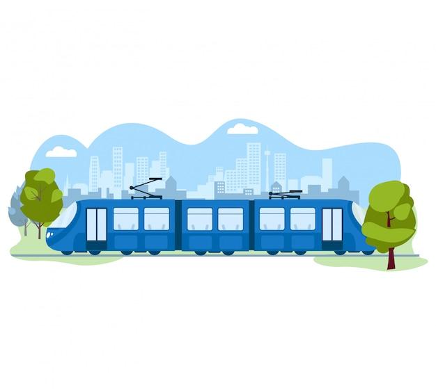 Transporte moderno público do skytrain, sistema urbano do metro no branco, ilustração. trem de tráfego elétrico amigável de ecologia. Vetor Premium