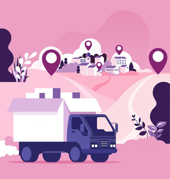 Transporte mundial e conceito de entrega de carga Vetor Premium