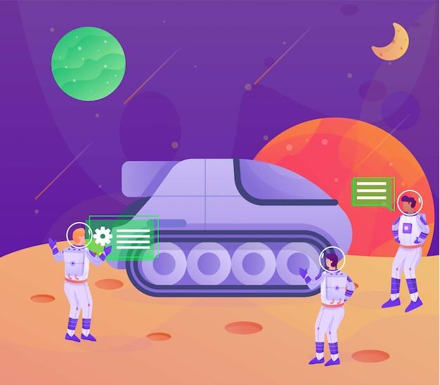 Transporte na página de aterrissagem de ilustração de astronauta da lua Vetor Premium