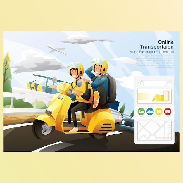 Transporte on-line, andar de bicicleta na estrada com carro com fundo do céu Vetor Premium