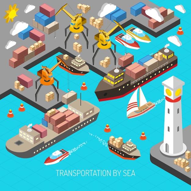 Transporte pelo conceito do mar Vetor grátis