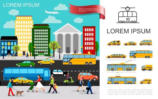 Transporte plano no conceito de cidade com veículos se movendo na estrada e carros de táxi ônibus caminhão van trólebus bonde Vetor grátis