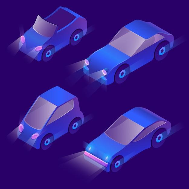 Transporte urbano isométrico 3d com faróis Vetor grátis