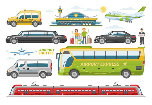 Transporte veículo de transporte público de ônibus ou trem e carro para transporte no conjunto de ilustração cidade de pessoas e avião no aeroporto em fundo branco Vetor Premium