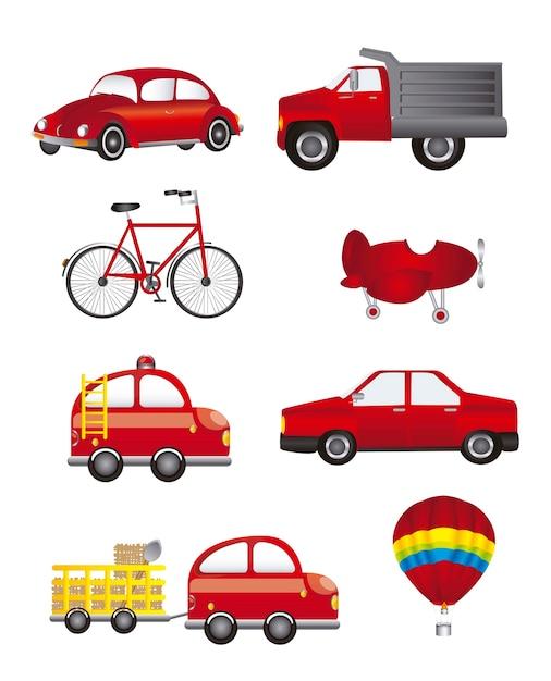 Transporte vermelho isolado sobre ilustração vetorial de fundo branco Vetor Premium
