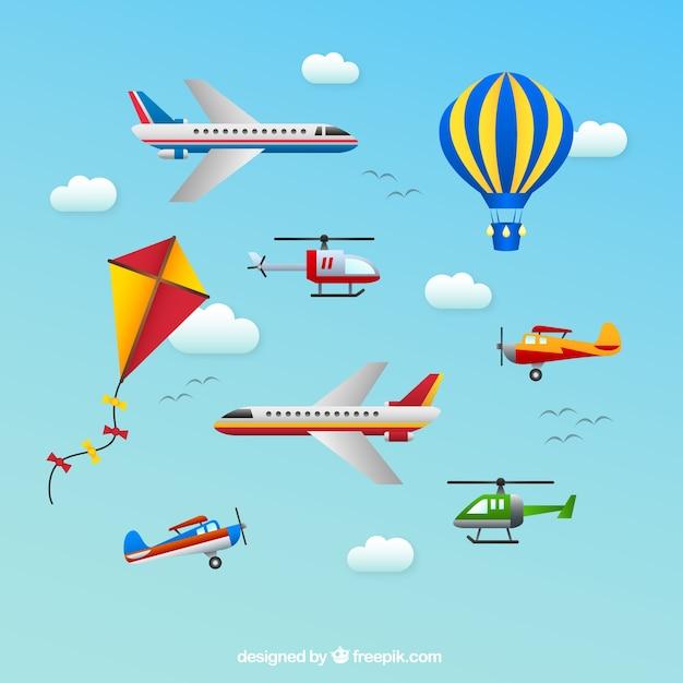 Transportes aéreos ícones Vetor grátis