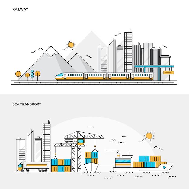 Transportes ferroviários e marítimos Vetor Premium