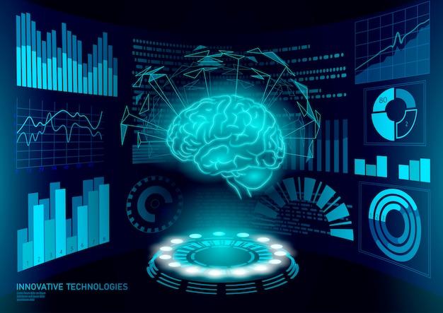 Tratamento de diagnóstico cerebral baixo poli 3d hud. exibição inteligente de estimulante nootrópico de drogas. reabilitação cognitiva de medicina na doença de alzheimer e demência médico ilustração on-line Vetor Premium
