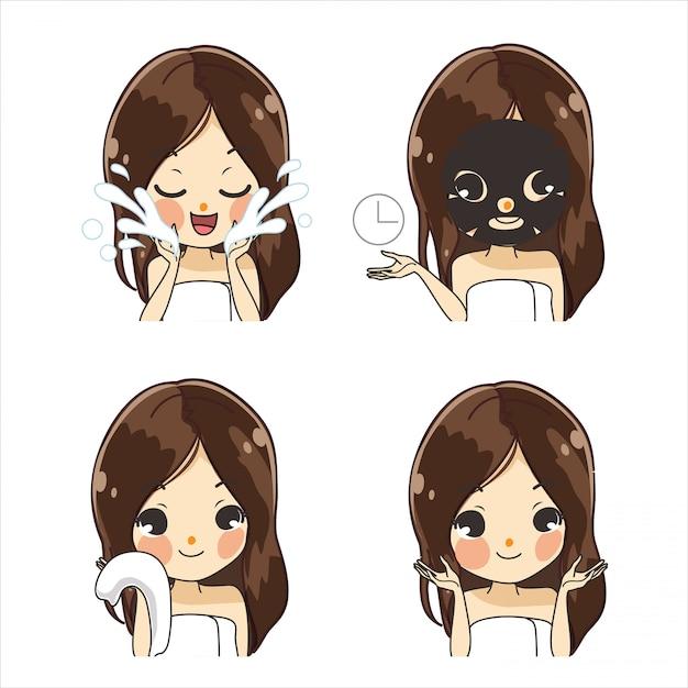 Tratamento de lenço de mascara por meninas fofas. Vetor Premium
