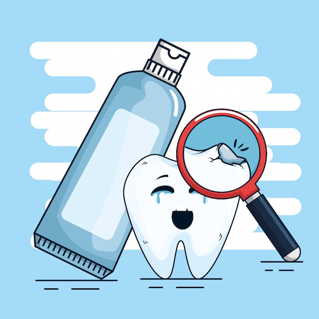 Tratamento dentário com creme dental e lupa Vetor grátis