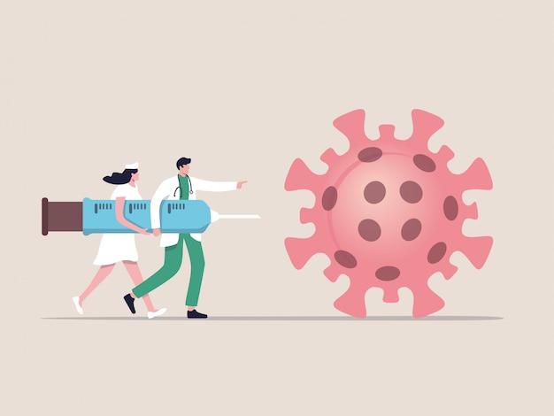 Tratamento ou medicamento da vacina covid-19 para curar o conceito ...
