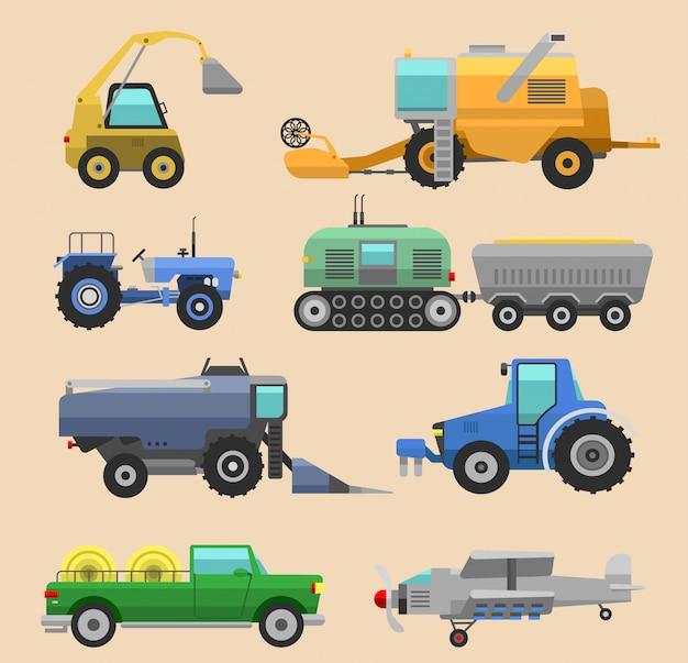 Trator de colheitadeira de veículos agrícolas, máquina combinada e escavadeira. conjunto de ícones de colheitadeira agrícola com acessórios para tratores de aragem, sega, plantio e colheita Vetor Premium