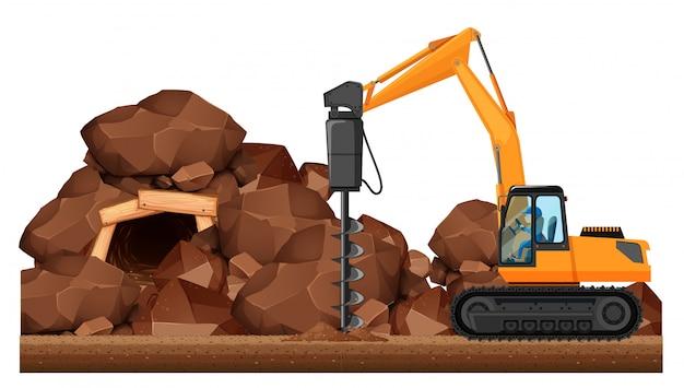Trator de perfuração trabalhando na mina Vetor grátis