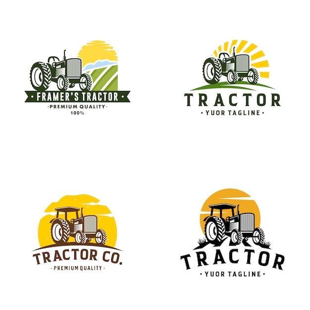 Trator fazenda logo template stock vector Vetor Premium