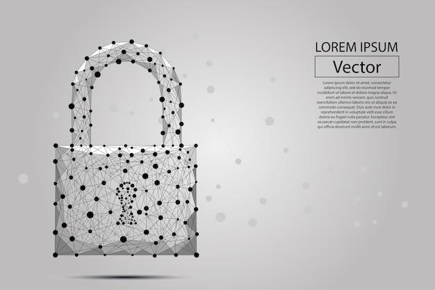 Trava de segurança composta de polígonos Vetor Premium