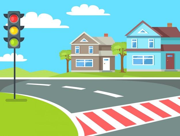 Travessia de pedestres com semáforos na estrada Vetor Premium