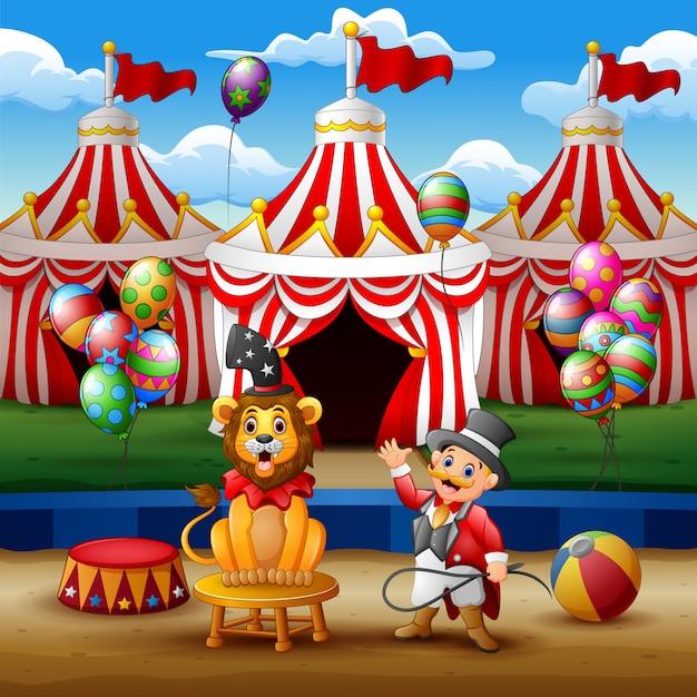 Treinador de circo realiza um truque junto com um leão na arena Vetor Premium