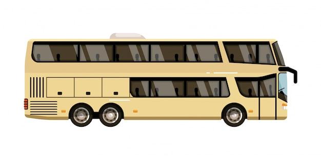 Treinador de turismo. ícone de ônibus turístico de dois andares isolar no fundo branco. ilustração de veículo de ônibus de passageiros Vetor Premium