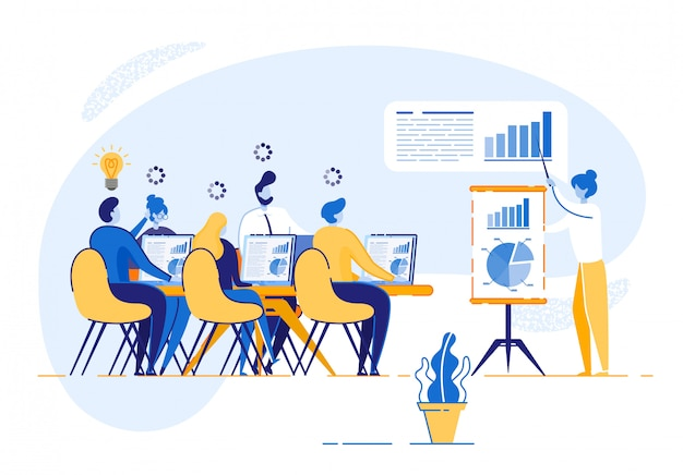Treinamento corporativo para funcionários empresariais Vetor Premium