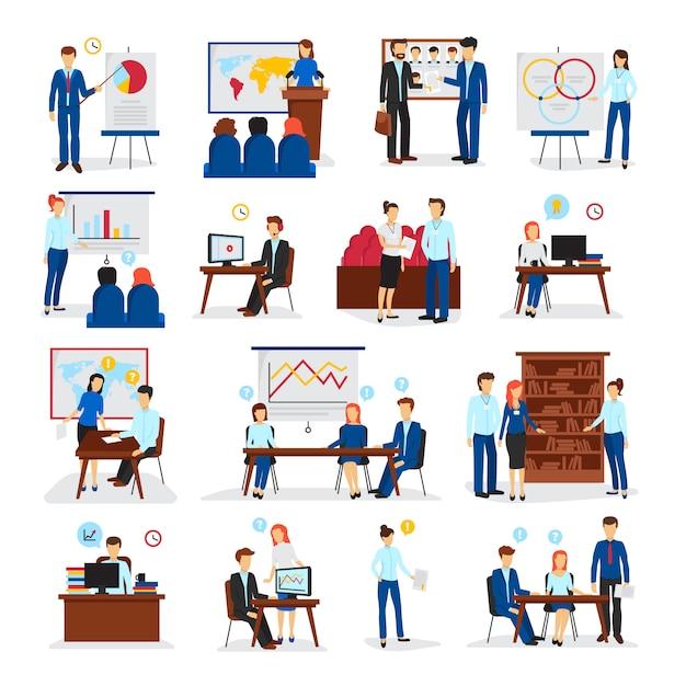 Treinamento de negócios e programas de consultoria para estratégia de gestão geral e inovações ícones planas Vetor grátis