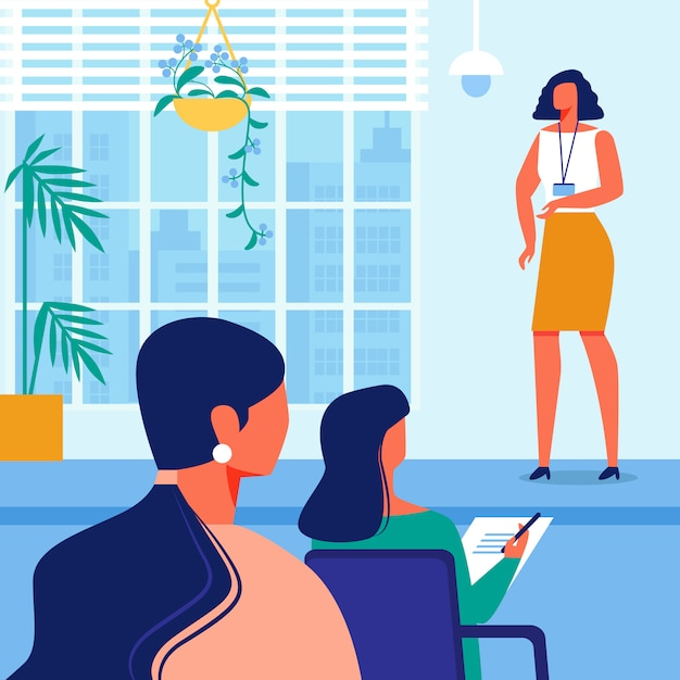 Treinamento do negócio da mulher no salão com interior azul Vetor Premium