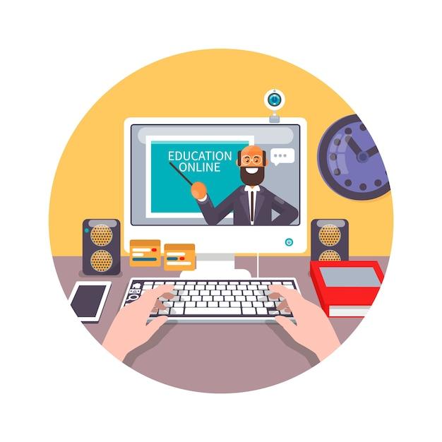 Treinamento, educação, tutorial on-line, conceito de e-learning. ilustração vetorial plana Vetor Premium