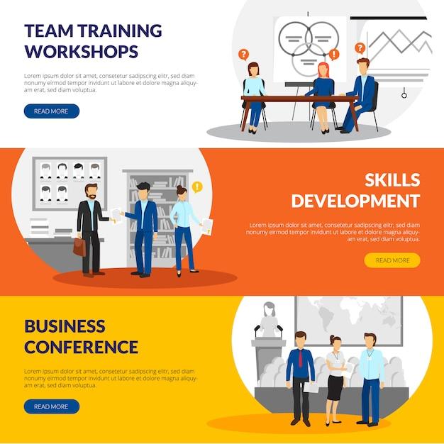 Treinamento empresarial que consulta informação de seminários de desenvolvimento de habilidade Vetor grátis