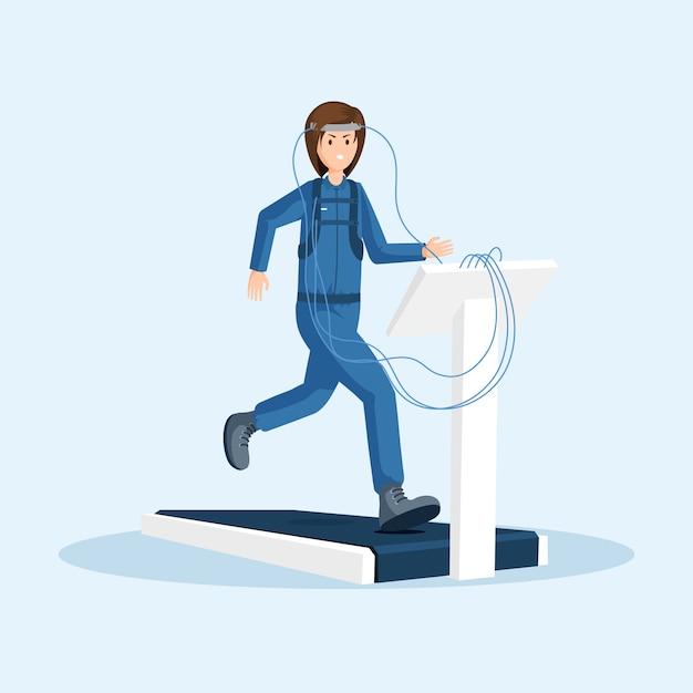 Treinamento físico de astronauta Vetor Premium