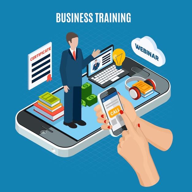 Treinamento isométrico para negócios em webinar Vetor grátis