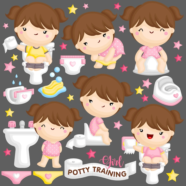 Treinamento potty girl Vetor Premium
