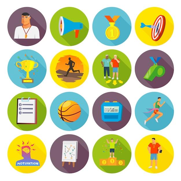 Treinando ícones do esporte plana Vetor Premium