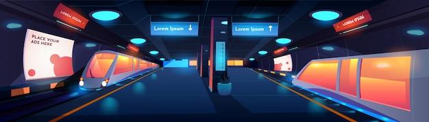 Treinar no interior da estação de metro durante a noite Vetor grátis