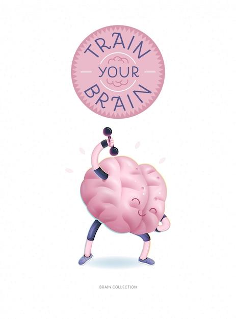 Treine seu poster do cérebro com letras Vetor Premium