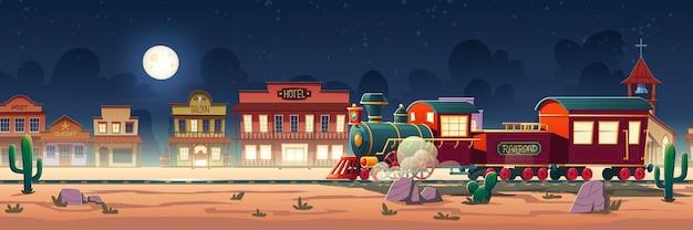 Trem a vapor do oeste selvagem à noite na cidade do oeste com ferrovia, locomotiva vintage, paisagem desértica, cactos e antigos prédios de madeira. Vetor grátis