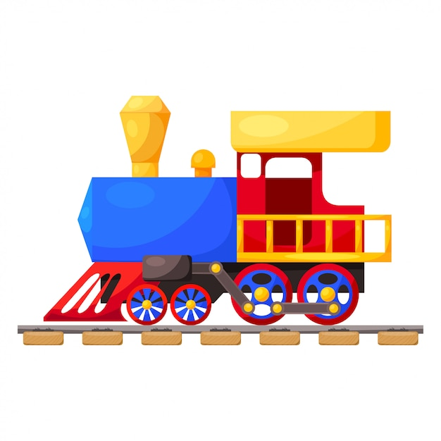 Trem azul vermelho Vetor Premium