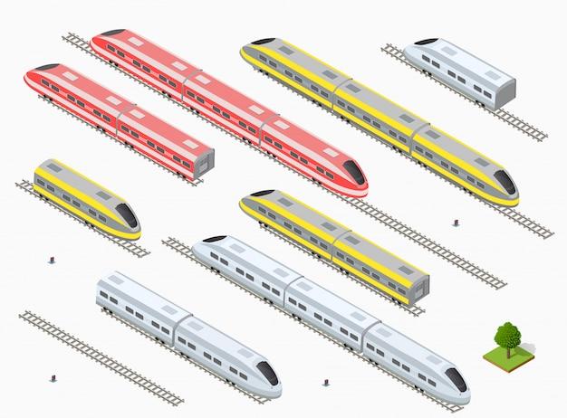 Trem de alta velocidade moderno rápido Vetor Premium