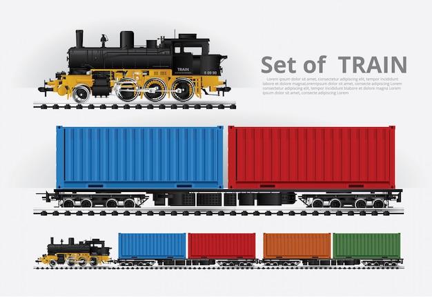 Trem de carga em uma estrada de ferro ilustração vetorial Vetor Premium