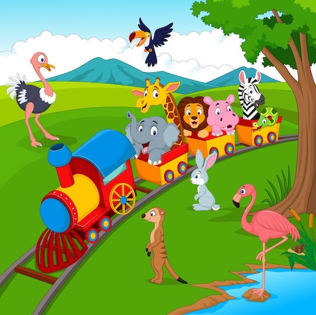 trem dos desenhos animados na estrada de ferro com animais selvagens
