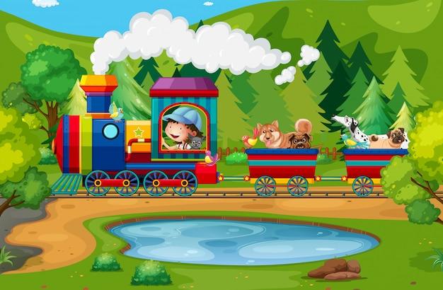 Trem e natureza Vetor Premium