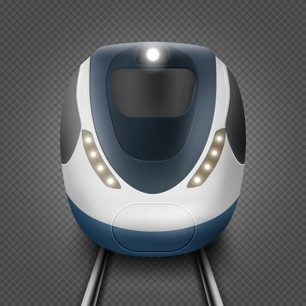 Trem ou metrô, vista frontal, locomotiva do metrô Vetor grátis