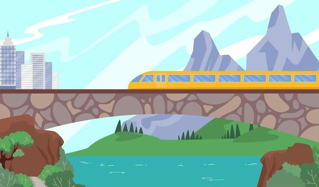 Trem veloz moderno na ferrovia Vetor Premium