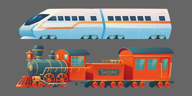 Trens antigos e modernos, transporte ferroviário a vapor antigo e locomotiva do metrô contemporânea, vista lateral do transporte suburbano da cidade ferroviária isolada no fundo cinza. ilustração de desenho animado Vetor grátis