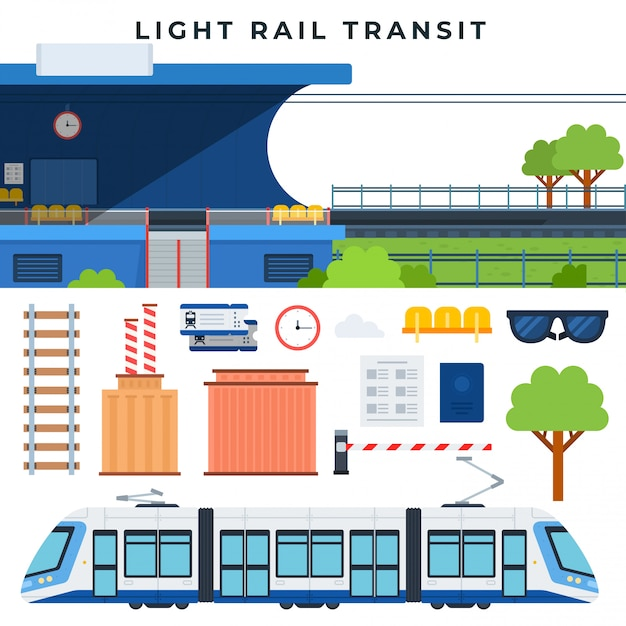 Trens de passageiros trânsito ferroviário. transporte railway da cidade moderna, grupo de elementos do vetor. ilustração vetorial em estilo simples. Vetor Premium