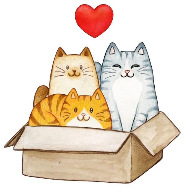 Três adoráveis gatinhos aquarela em uma caixa de papel Vetor Premium